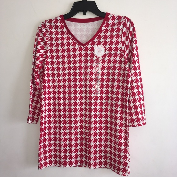 60cf6c72afc Kim Rogers Tops | Houndstooth Red Ivory 34 Sleeve Tee | Poshmark